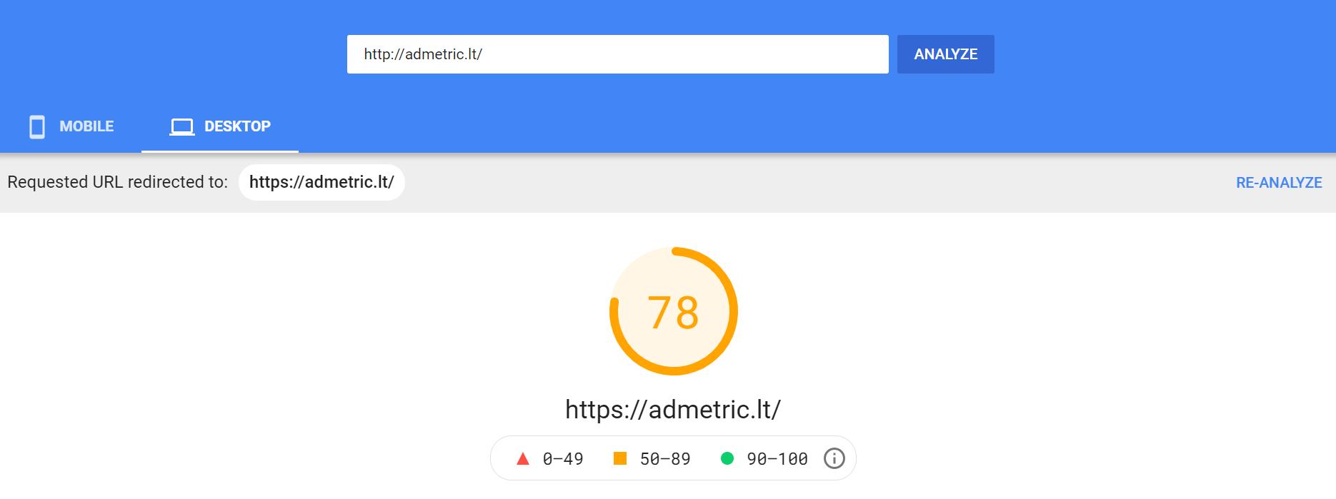 svetainės greitis Google Pagespeed Insights