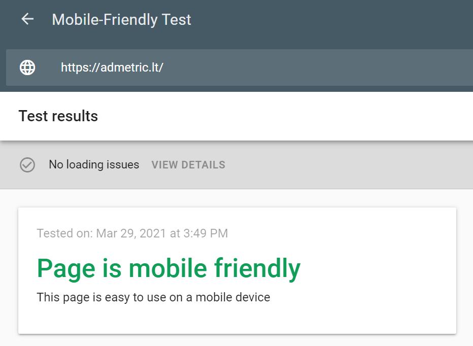 Google mobiliųjų įrenginių draugiškumo testas