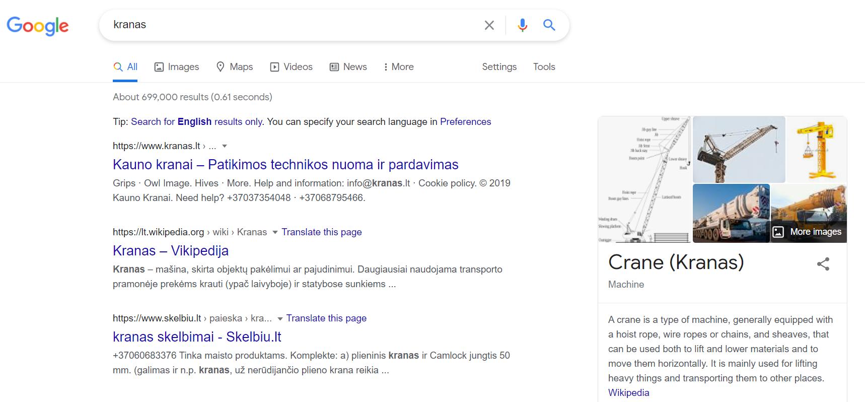 """Google paieška """"kranas"""""""